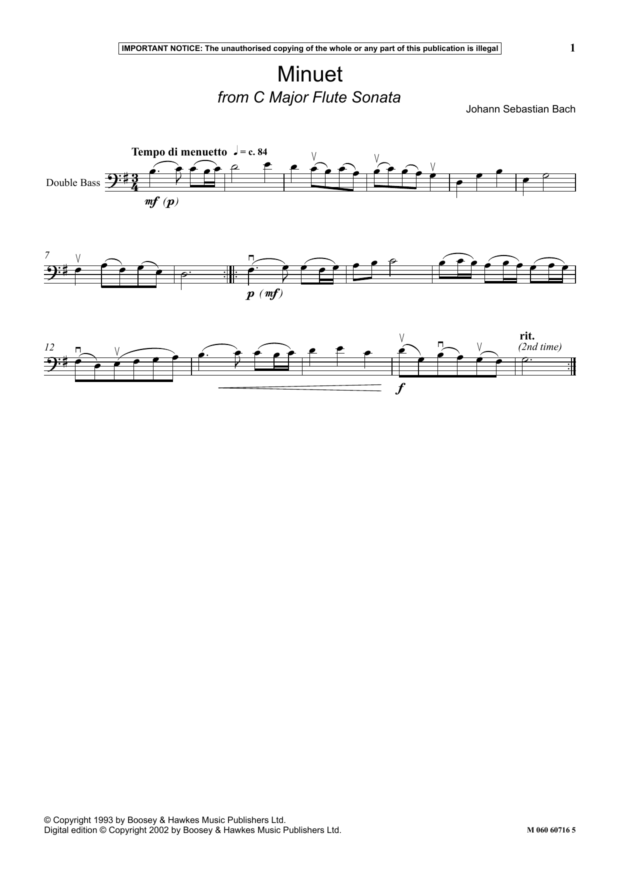 Johann Sebastian Bach Minuet (from C Major Flute Sonata) sheet music notes and chords. Download Printable PDF.