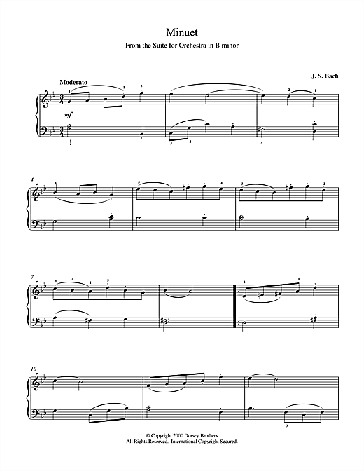 Johann Sebastian Bach Minuet (from Orchestral Suite No. 2 in B Minor) sheet music notes and chords