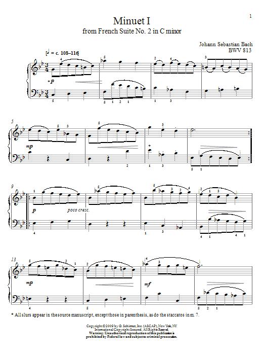 Johann Sebastian Bach Minuet I, BWV 813 sheet music notes and chords
