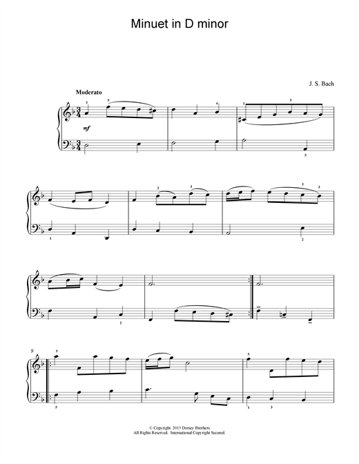 Johann Sebastian Bach Minuet In D Minor sheet music notes and chords