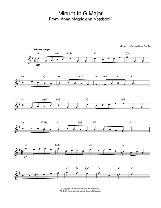 Johann Sebastian Bach Minuet In G sheet music notes and chords