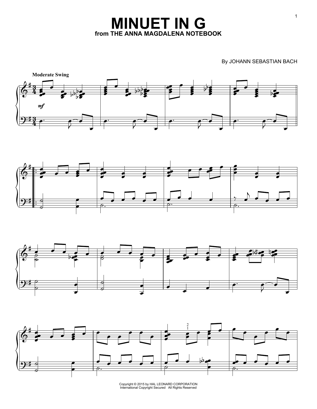 Johann Sebastian Bach Minuet In G [Jazz version] sheet music notes and chords