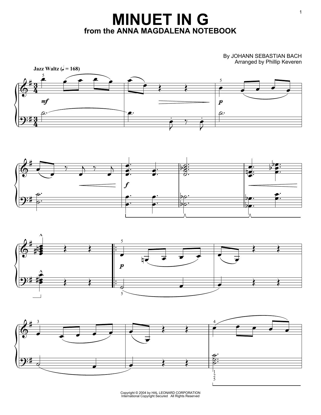Johann Sebastian Bach Minuet In G [Jazz version] (arr. Phillip Keveren) sheet music notes and chords