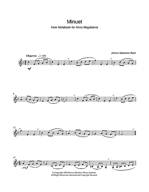 Johann Sebastian Bach Minuet in G Major (from The Anna Magdalena Notebook) sheet music notes and chords. Download Printable PDF.