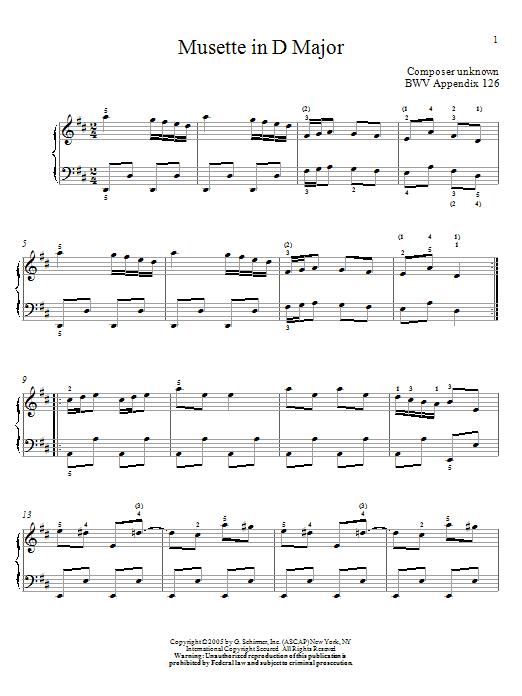 Johann Sebastian Bach Musette in D major sheet music notes and chords. Download Printable PDF.