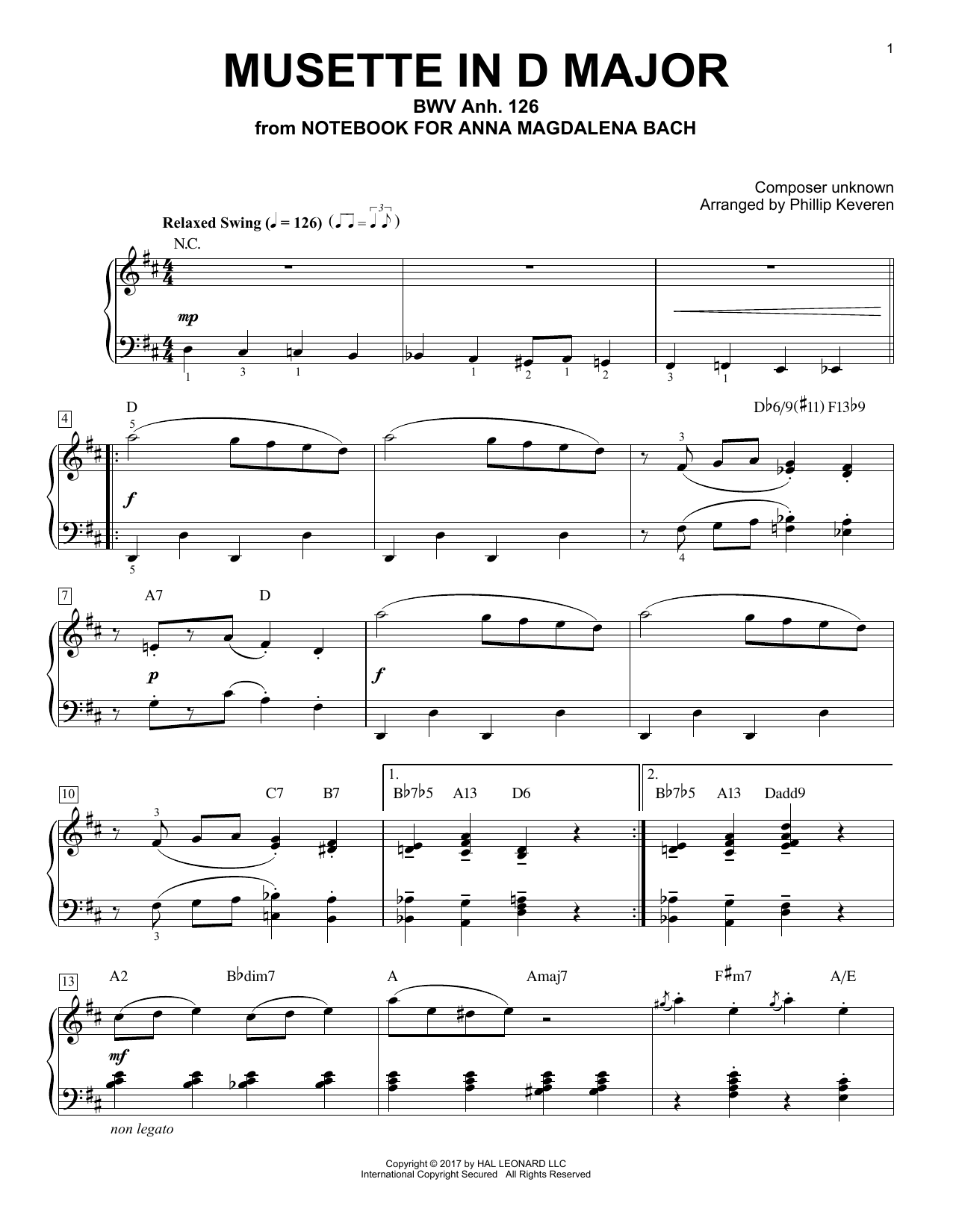 Johann Sebastian Bach Musette In D Major, BWV Anh. 126 [Jazz version] (arr. Phillip Keveren) sheet music notes and chords. Download Printable PDF.