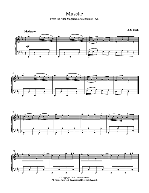 Johann Sebastian Bach Musette In D Major, BWV App. 126 sheet music notes and chords