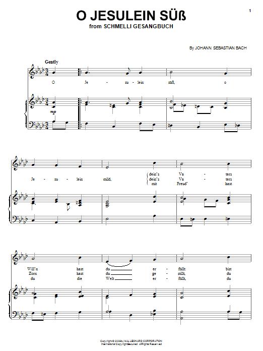 Johann Sebastian Bach O Jesulein Suss sheet music notes and chords. Download Printable PDF.