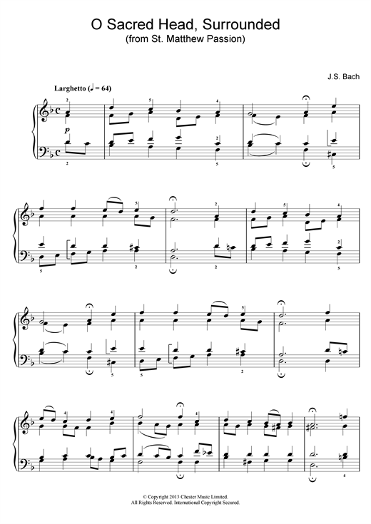 Johann Sebastian Bach O Sacred Head, Surrounded (from St Matthew Passion) sheet music notes and chords. Download Printable PDF.