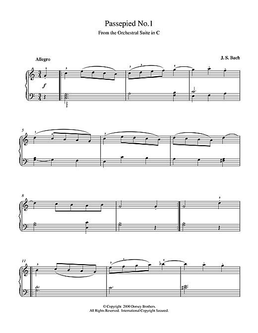 Johann Sebastian Bach Passepied No.1 sheet music notes and chords