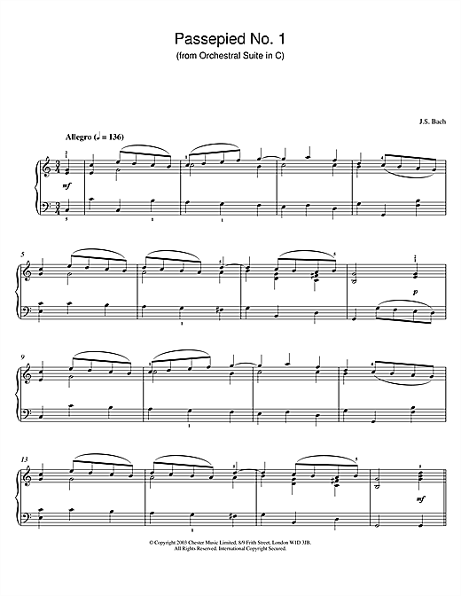 Johann Sebastian Bach Passepied No. 1 (from Orchestral Suite in C) sheet music notes and chords. Download Printable PDF.