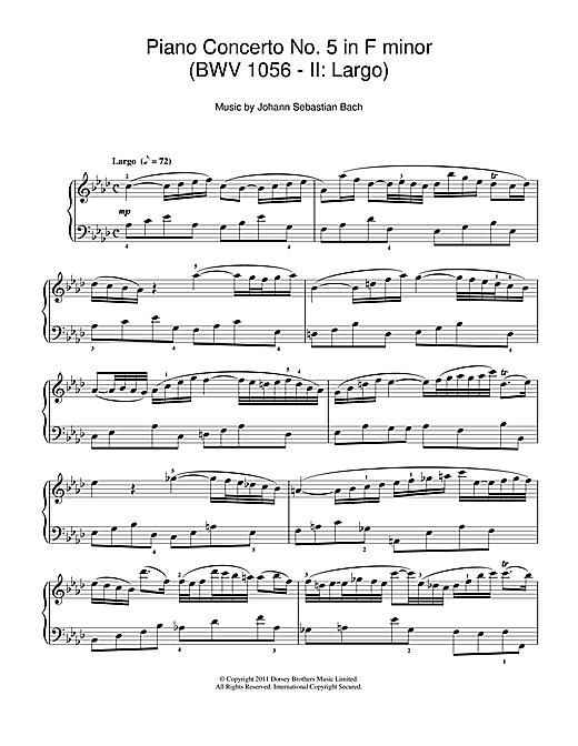Harpsichord Concerto No.5 In F Minor BWV 1056 Johann Sebastian Bach Piano Book O