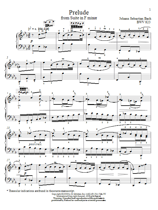 Johann Sebastian Bach Prelude, BWV 823 sheet music notes and chords. Download Printable PDF.