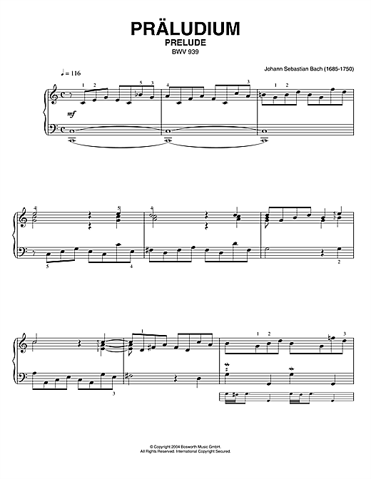 Johann Sebastian Bach Prelude, BWV 939 sheet music notes and chords. Download Printable PDF.