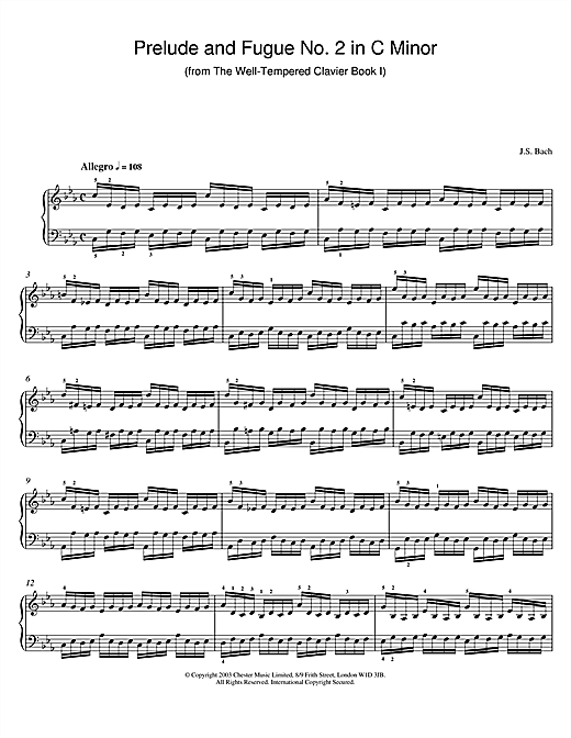 Johann Sebastian Bach Prelude and Fugue No.2 in C Minor (from The Well-Tempered Clavier, Bk.1) sheet music notes and chords. Download Printable PDF.