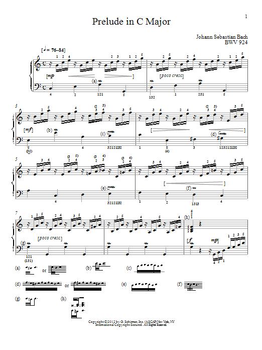 Johann Sebastian Bach Prelude In C Major, BMV 924 sheet music notes and chords. Download Printable PDF.