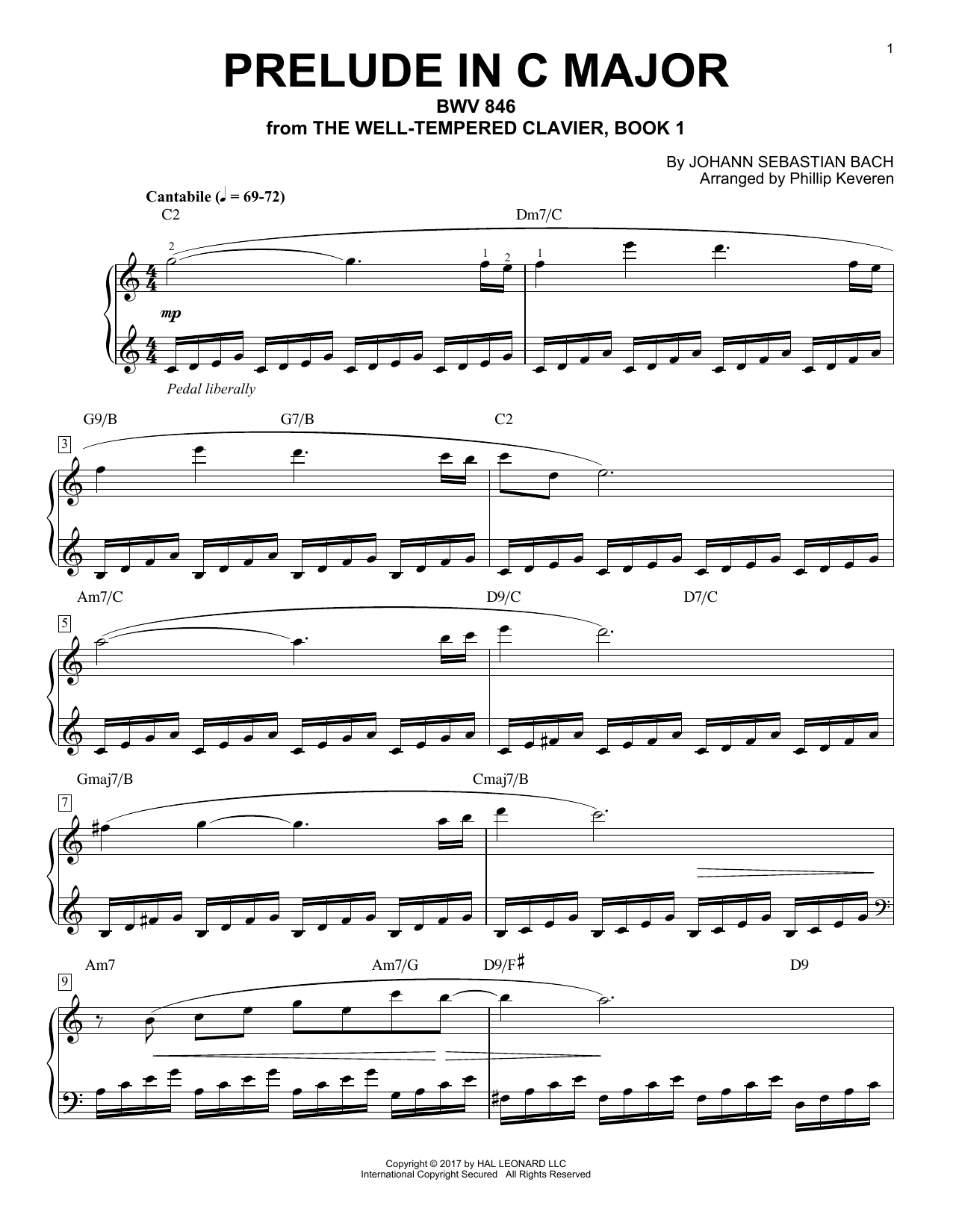 Johann Sebastian Bach Prelude In C Major, BWV 846 [Jazz version] (arr. Phillip Keveren) sheet music notes and chords. Download Printable PDF.