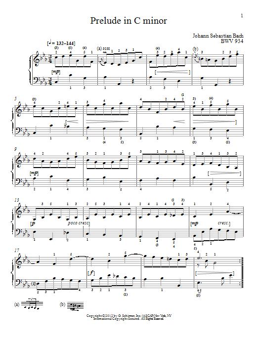 Johann Sebastian Bach Prelude In C Minor, BMV 934 sheet music notes and chords