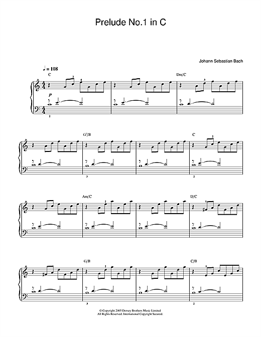Johann Sebastian Bach Prelude No.1 in C Major (from The Well-Tempered Clavier, Bk.1) sheet music notes and chords. Download Printable PDF.