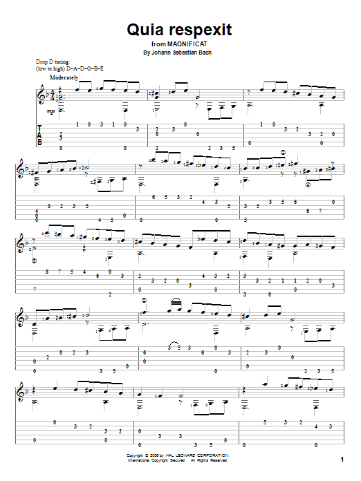 Johann Sebastian Bach Quia Respexit sheet music notes and chords. Download Printable PDF.