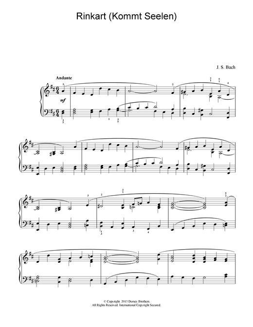 Johann Sebastian Bach Rinkart (Kommt Seelen) sheet music notes and chords