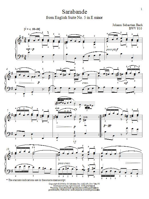 Johann Sebastian Bach Sarabande, BWV 810 sheet music notes and chords