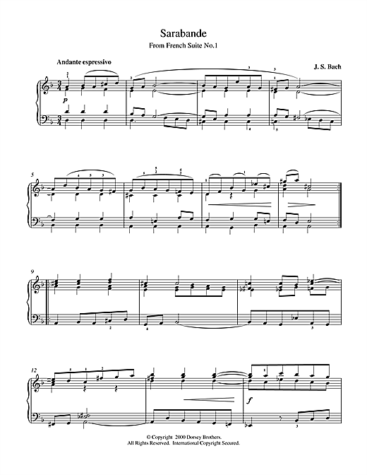 Johann Sebastian Bach Sarabande From Cello Suite in E Flat sheet music notes and chords