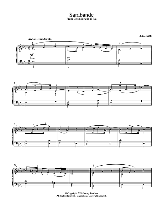 Johann Sebastian Bach Sarabande From French Suite No.1 sheet music notes and chords