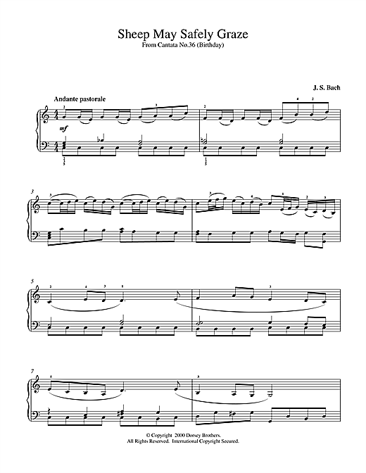 Johann Sebastian Bach Sheep May Safely Graze sheet music notes and chords