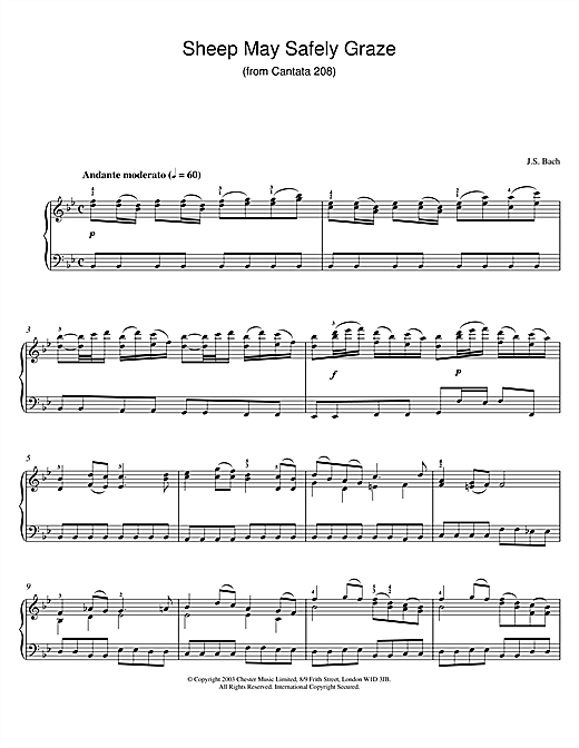Johann Sebastian Bach Sheep May Safely Graze (from Cantata 208) sheet music notes and chords. Download Printable PDF.