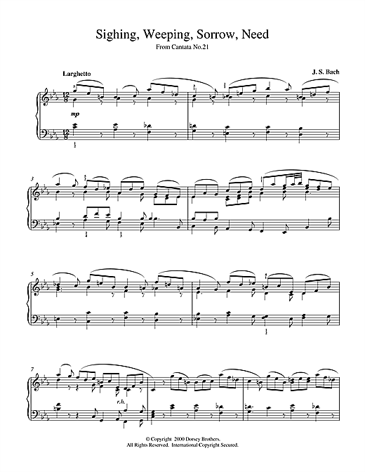 Johann Sebastian Bach Sighing, Weeping, Sorrow, Need sheet music notes and chords. Download Printable PDF.