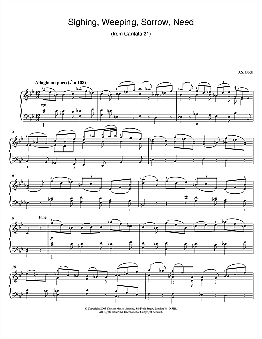 Johann Sebastian Bach Sighing, Weeping, Sorrow, Need (from Cantata 21) sheet music notes and chords. Download Printable PDF.