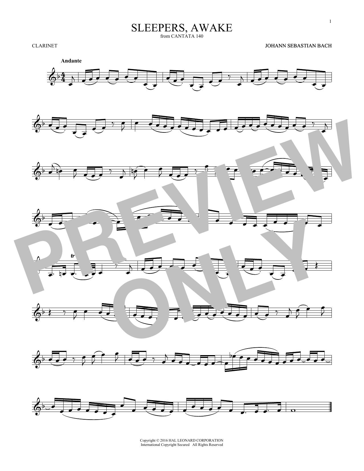 Johann Sebastian Bach 'Sleepers, Awake (Wachet Auf)' Sheet Music Notes,  Chords | Download Printable Clarinet Solo - SKU: 192417