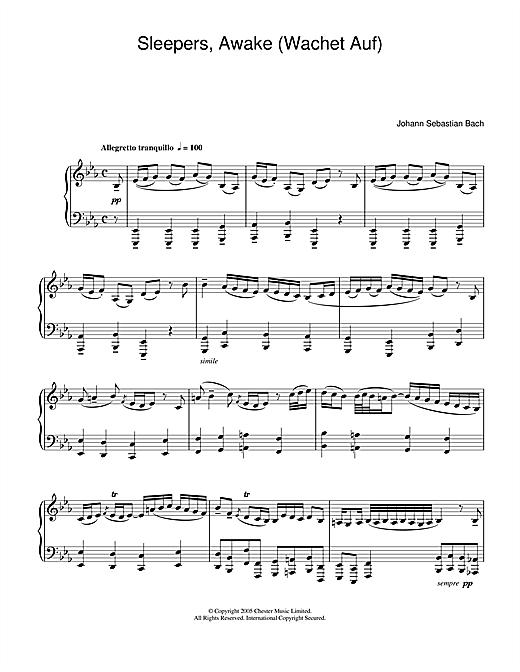 Johann Sebastian Bach Sleepers, Awake (Wachet Auf) sheet music notes and chords. Download Printable PDF.