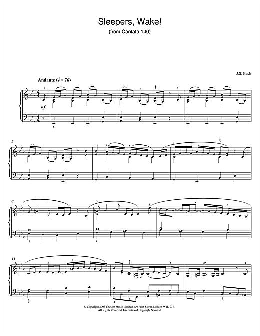 Johann Sebastian Bach Sleepers, Wake! (from Cantata 140) sheet music notes and chords. Download Printable PDF.
