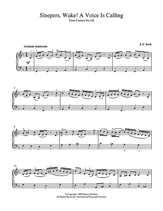 Johann Sebastian Bach Sleepers, Wake! A Voice Is Calling sheet music notes and chords