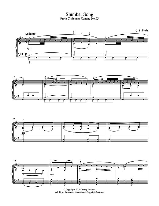 Johann Sebastian Bach Slumber Song sheet music notes and chords. Download Printable PDF.