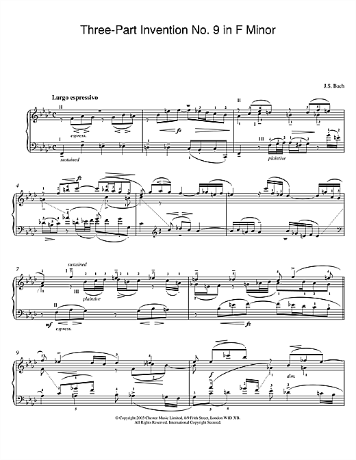 Johann Sebastian Bach Three-Part Invention No. 9 in F Minor sheet music notes and chords. Download Printable PDF.
