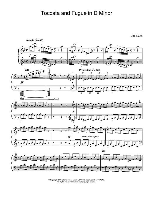 Johann Sebastian Bach Toccata and Fugue in D Minor sheet music notes and chords
