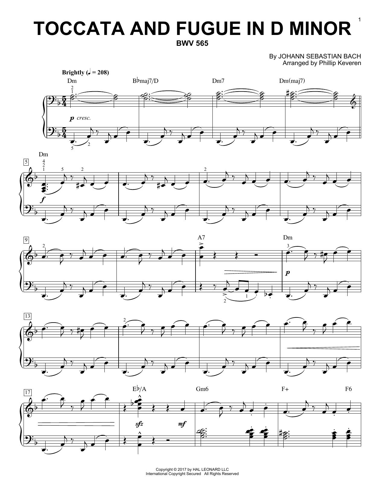 Johann Sebastian Bach Toccata And Fugue In D Minor, BWV 565 [Jazz version] (arr. Phillip Keveren) sheet music notes and chords. Download Printable PDF.
