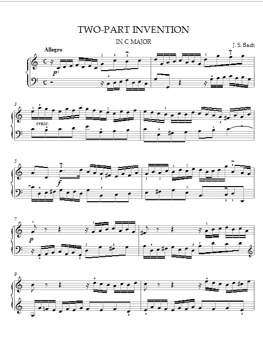 Johann Sebastian Bach Two-Part Invention in C Major sheet music notes and chords