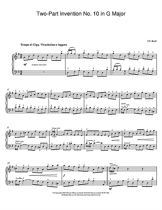 Johann Sebastian Bach Two-Part Invention No. 10 in G Major sheet music notes and chords