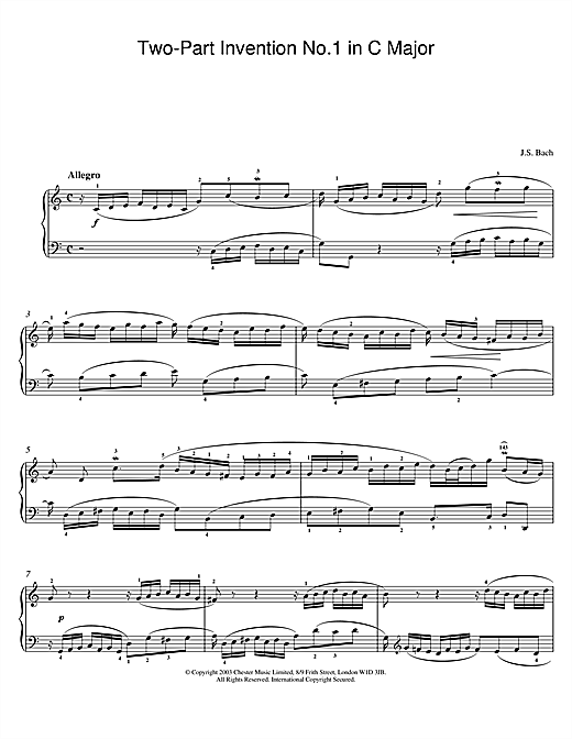 Johann Sebastian Bach Two-Part Invention No. 1 in C Major sheet music notes and chords. Download Printable PDF.