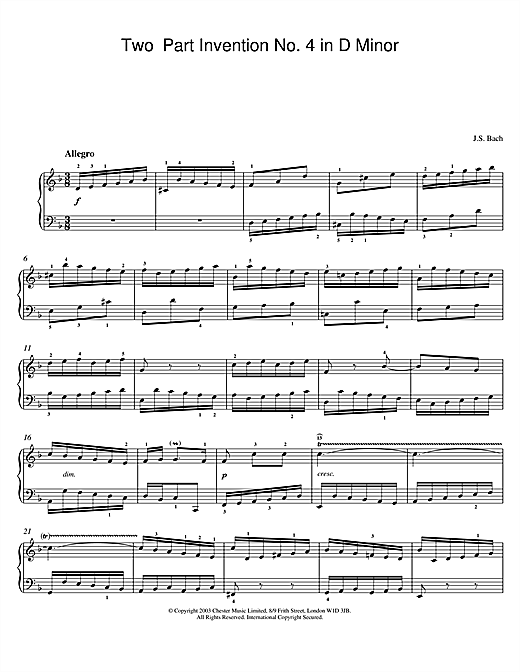 Johann Sebastian Bach Two-Part Invention No. 4 in D Minor sheet music notes and chords