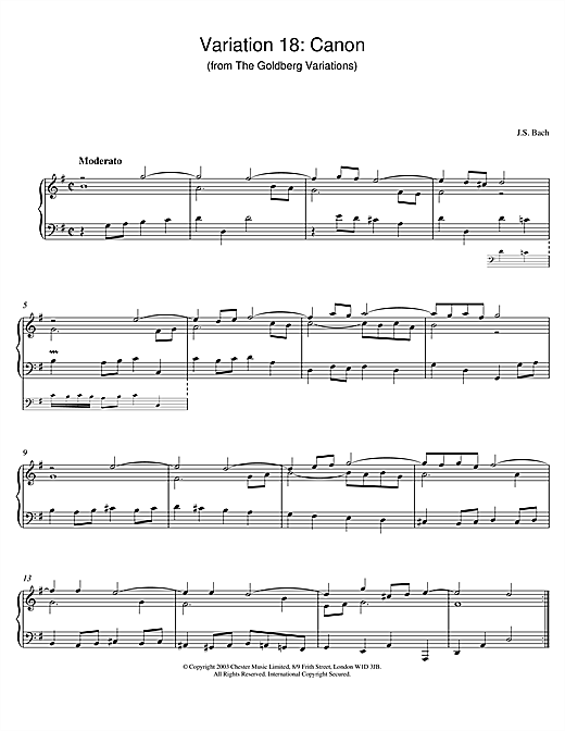 Johann Sebastian Bach Variation 18: Canon (from The Goldberg Variations) sheet music notes and chords