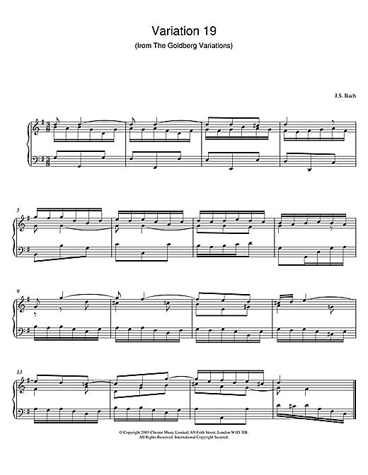 Johann Sebastian Bach Variation 19 (from The Goldberg Variations) sheet music notes and chords. Download Printable PDF.