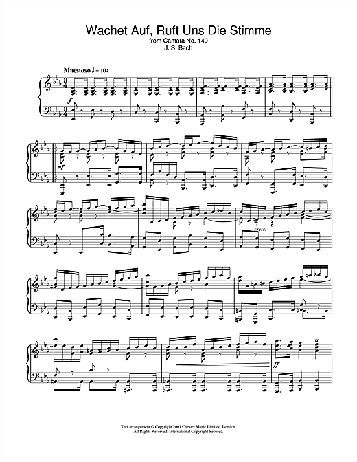 Johann Sebastian Bach Wachet Auf, Ruft Uns Die Stimme (from Cantata No.140) sheet music notes and chords