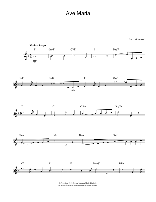 Johann Sebastian Bach and Charles Gounod Ave Maria sheet music notes and chords