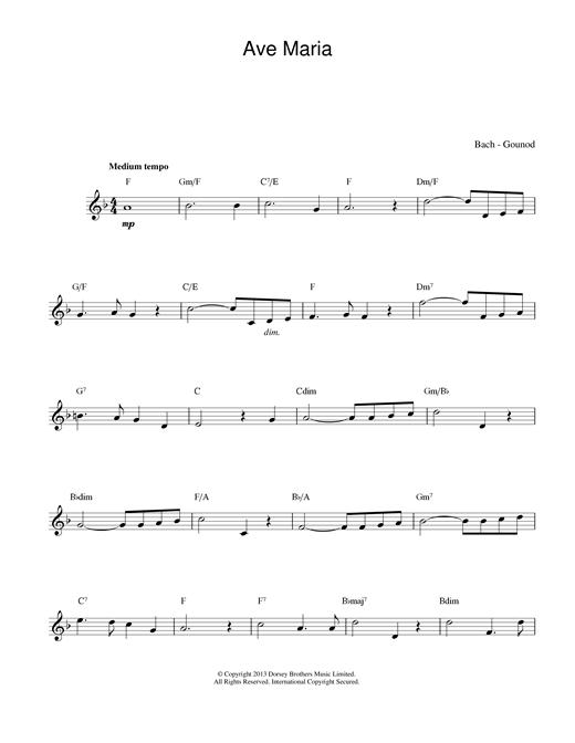 Johann Sebastian Bach and Charles Gounod Ave Maria sheet music notes and chords. Download Printable PDF.
