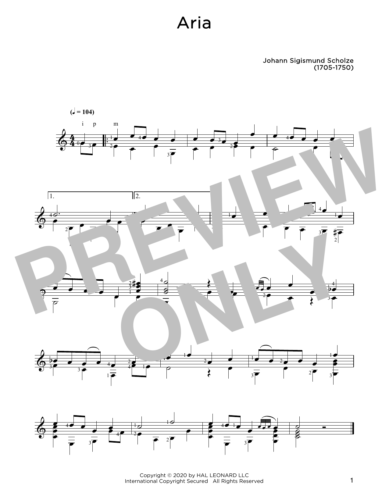 Johann Sigismund Scholze Aria sheet music notes and chords. Download Printable PDF.